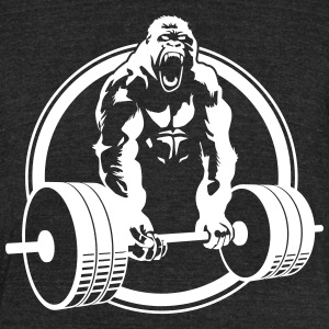 Weightlifting Crossfit Gorilla - Unisex Tri-Blend T-Shirt by American Apparel
