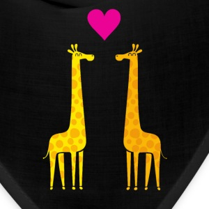 Funny & Cute Giraffes Couple in Love (Heart) Caps - Bandana