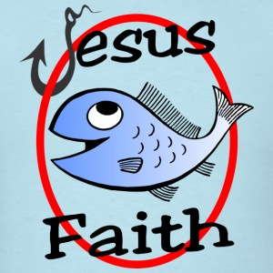 T Shirt Jesus Faith - Fish and Hook fishing - Men's T-Shirt