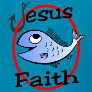 Christian Jesus Faith - Fish and Hook fishing - Kids' T-Shirt