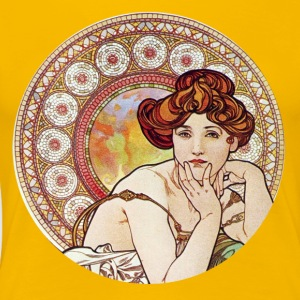 Yellow gem goddess mucha - Women's Premium T-Shirt