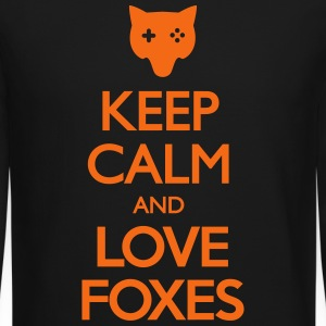 Keep Calm and Love Foxes Long Sleeve Shirts - Crewneck Sweatshirt