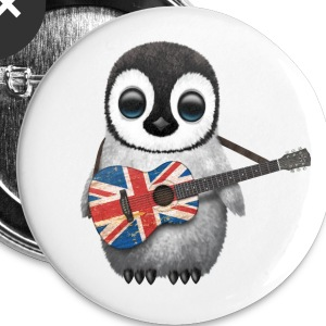 British Guitar Penguin Buttons - Large Buttons