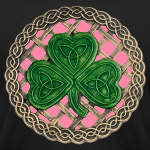 Pink Shamrock And Celtic Knots Shirt - Men's T-Shirt by American Apparel