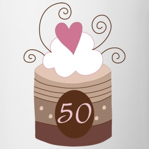 50th Birthday Cake Design Mugs & Drinkware - Coffee/Tea Mug