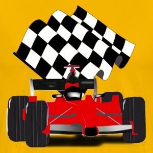 Red Race Car with Checkered Flag - Men's Premium T-Shirt