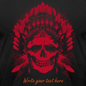 Chief Skull red motif T-Shirts - Men's T-Shirt by American Apparel