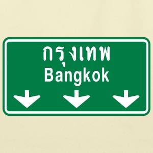Bangkok Ahead ~ Watch Out! Thailand Traffic Sign B - Eco-Friendly Cotton Tote
