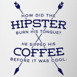 Hipster joke how did the hipster burn his tongue? Mugs & Drinkware - Contrast Coffee Mug