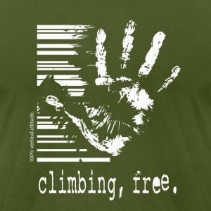 Climbing, Free - olive t-shirt - Men's T-Shirt by American Apparel