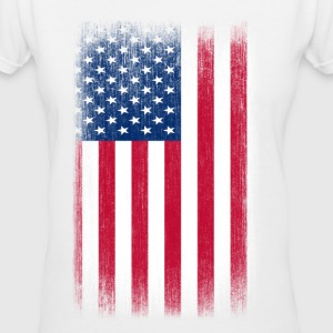 USA Flag Grunge Retro Look - Women's V-Neck T-Shirt