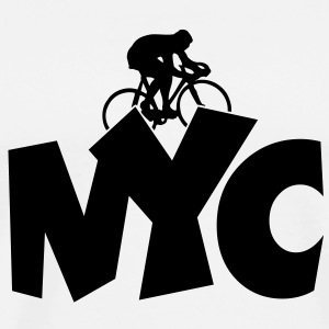 NYC Cycling T-Shirt (Men White/Black) - Men's Premium T-Shirt