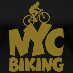 NYC Biking T-Shirt (Women/Gold) - Women's Premium T-Shirt