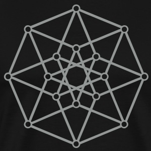 TESSERACT, Hypercube 4D, digital, Symbol - Dimensional Shift, Metatrons Cube, Star of Ishtar T-Shirts - Men's Premium T-Shirt
