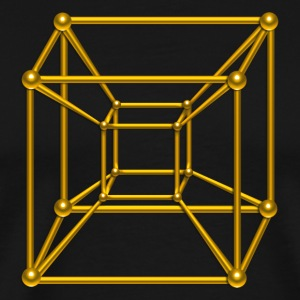 TESSERACT, Hypercube 4D, gold, Symbol - Dimensional Shift, Metatrons Cube, T-Shirts - Men's Premium T-Shirt