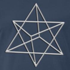 Merkaba, 3D, digital silver, divine light vehicle, sacred Geometry T-shirts (manches courtes)