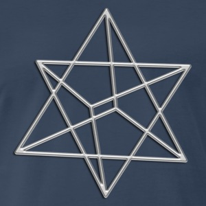Merkaba, 3D, digital silver, divine light vehicle, - Men's Premium T-Shirt