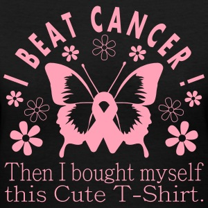 I Beat Cancer Cute Tee - Women's V-Neck T-Shirt