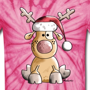 Funny Christmas Reindeer T-Shirts - Unisex Tie Dye T-Shirt