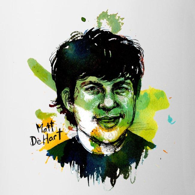 Molly Crabapple painting of Matt DeHart on Mug