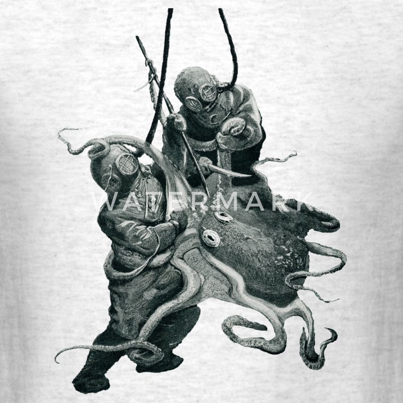 Vintage Helmet Divers with an Octopus - Men's T-Shirt