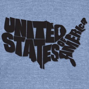AMERICA. USA Map Art - Blue Shirt, Black Text - Unisex Tri-Blend T-Shirt by American Apparel