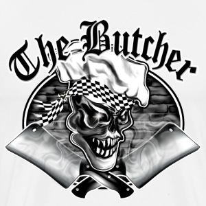 Butcher Skull and Smoking Cleavers 5 - Men's Premium T-Shirt
