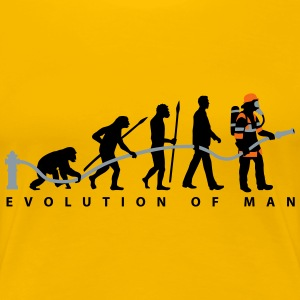 evolution of man firefighter Women's T-Shirts - Women's Premium T-Shirt