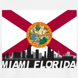 Miami Florida Skyline Flag - Men's Premium T-Shirt