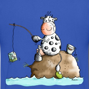 Funny Fishing Cow  T-Shirts - Men's V-Neck T-Shirt by Canvas