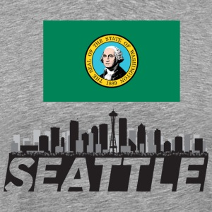 Seattle Washington Skyline Emerald City Flag - Men's Premium T-Shirt