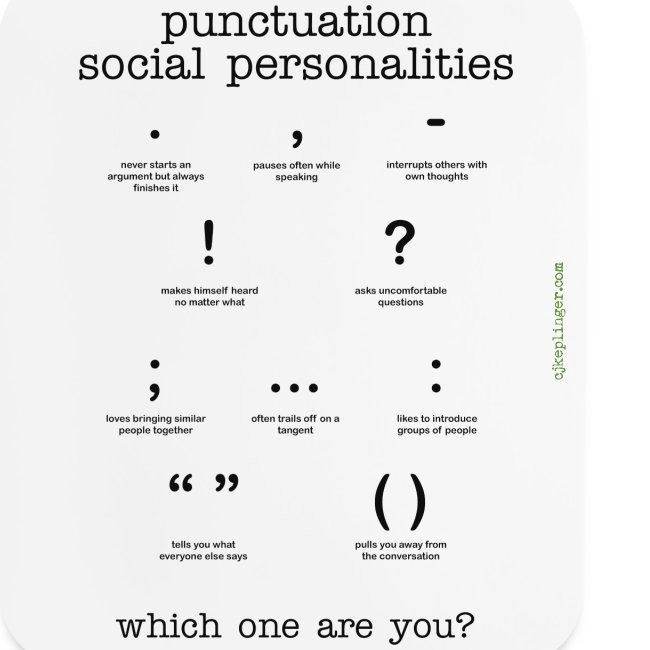 Punctuation Social Personalities mouse pad