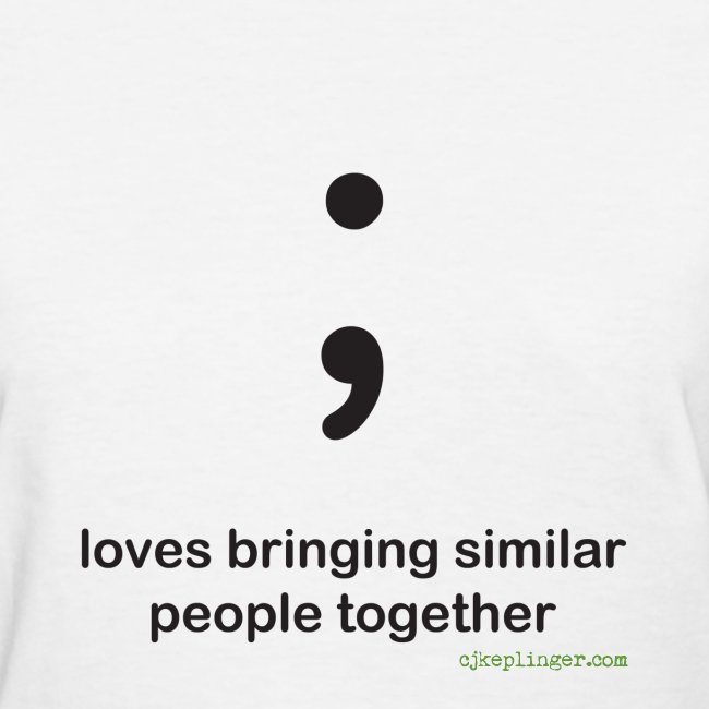 Punctuation Personality: Semicolon fitted tee
