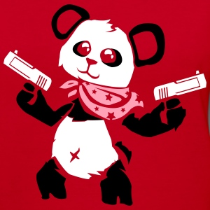 Cuddly Panda with Gun | Women's V-Neck T-Shirt - Women's V-Neck T-Shirt