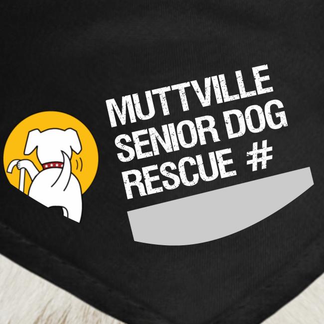 Muttville's #3000 Milestone Commemorative bandana (wht on blk)