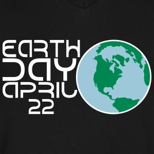 Earth Day Apr 22 Globe 3 Color Vector - Men's V-Neck T-Shirt by Canvas