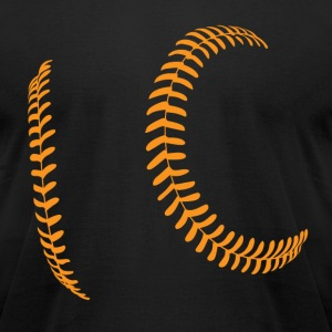 Orange Baseball Laces on black tee - Men's T-Shirt by American Apparel