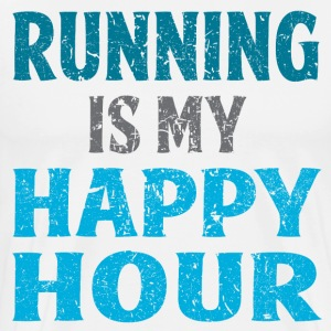 Running Is My Happy Hour (Blue) - Men's Premium T-Shirt