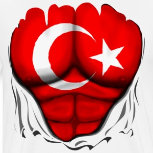 Turkey Flag Ripped Muscles, six pack, chest t-shir - Men's Premium T-Shirt