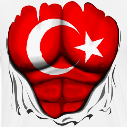 Turkey Flag Ripped Muscles, six pack, chest t-shir
