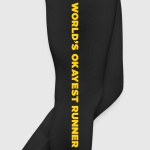 World's Okayest Runner - Gold Yellow Print - Women - Leggings