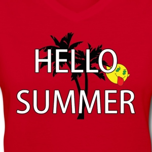 hello summer Women's T-Shirts - Women's V-Neck T-Shirt