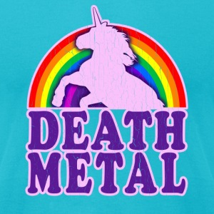 Funny Death Metal Rainbow Unicorn (vintage look) - Men's T-Shirt by American Apparel