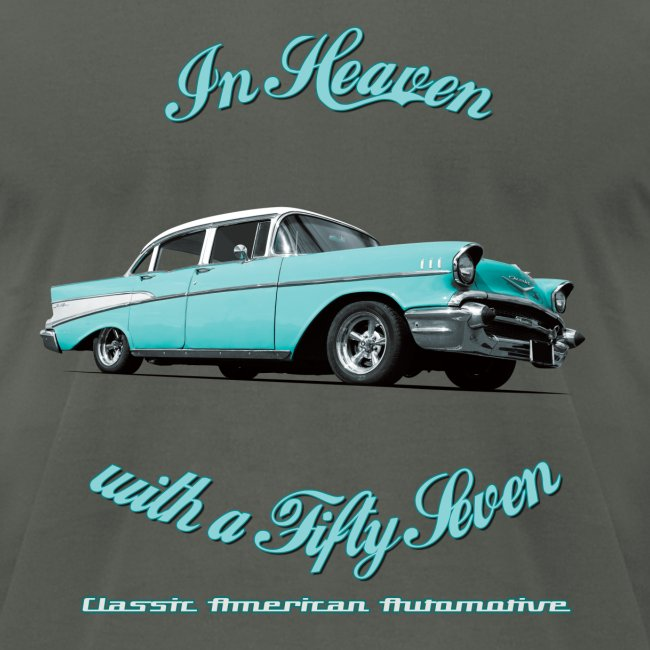 Mens T-shirt by American Apparel | Blue 57 Chevy | Classic American Automotive