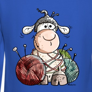 Funny Sheep With Wool Ball Long Sleeve Shirts - Crewneck Sweatshirt