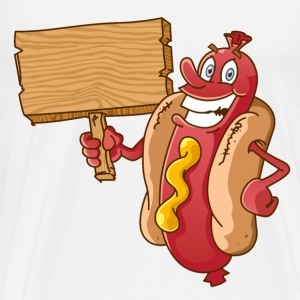 hot dog with wooden blank - Men's Premium T-Shirt