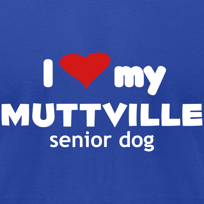 """I love my Muttville senior dog"" men's tee (white text)"