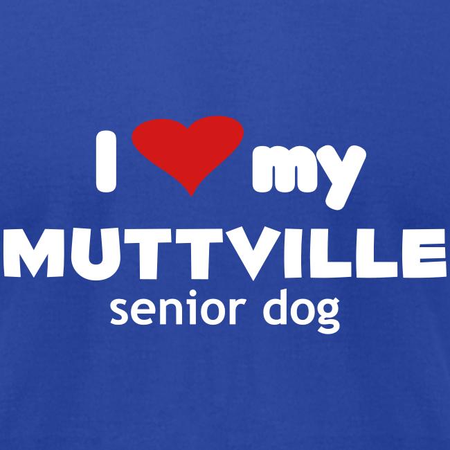 """I love my Muttville senior dog"" men's tee (white text)"