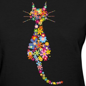 Cat and flowers - Women's T-Shirt