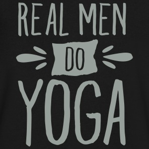 Real Men Do Yoga T-Shirts - Men's V-Neck T-Shirt by Canvas
